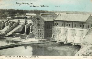 Vintage Postcard Big Dam at Croton MI Newaygo County Dam #2 G.R.M.P. Co. 16000HP