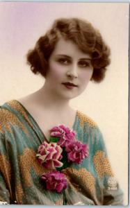 Vintage RPPC Real Photo Postcard Pretty Lady Blue / Gold Dress Pink Carnations