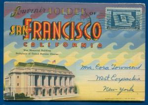 San Francisco California ca war memorial bldg linen postcard travel folder