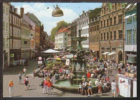 Fountain With Storks Copenhagen Denmark Postcard BIN