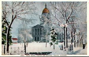 Colorado Denver Snow Scene Capitol and Grounds 1940