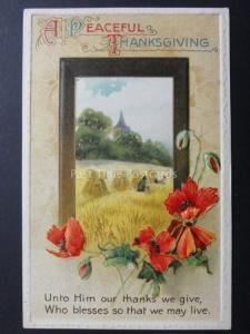 Embossed Poppies Postcard: A Peaceful Thanksgiving - Donation to R.B.L.