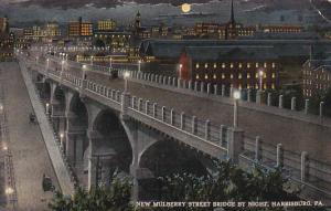 Pennsylvania Harrisburg New Mulberry Street Bridge By Night 1915