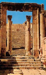 Jordan Old Vintage Antique Post Card Temple Gate Jerash Writing on back