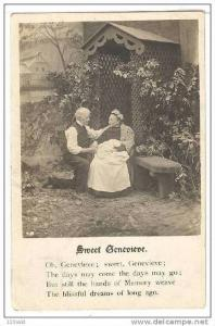 Lyrics to song, Sweet Genevieve, Old man kneels in front of old woman, PU-1907