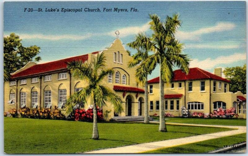 Fort Myers, Florida Postcard St. Luke's Episcopal Church Curteich Linen c1940s