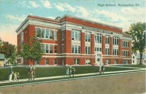 Montpelier, Vermont High School MHS Postcard Old View