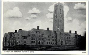 Toledo, Ohio Postcard TOLEDO UNIVERSITY Main Building View Wayne Paper c1940s