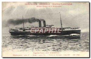 Old Postcard Boat Ship Post Duke & # 39Aumale Compagnie Generale Transatlantique
