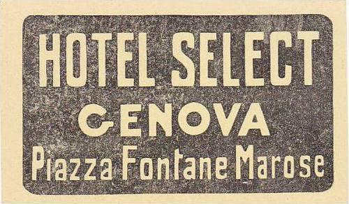 ITALY GENOVA HOTEL SELECT VINTAGE LUGGAGE LABEL