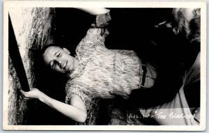 1950s Cork, IRELAND Real Photo Postcard Kissing the Blarney Castle / Stone