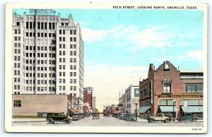 Postcard TX Amarillo Polk Street Looking North R54