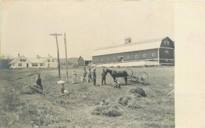 C-1905 Farm Agriculture Long Barn Harvest Postcard 13669 RPPC