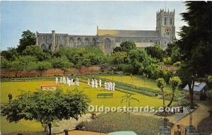 Old Vintage Lawn Bowling Postcard Post Card Bowlers Unused