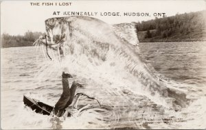 Hudson Ontario Kenneally Lodge Exaggerated Fish Lost Canadian RPPC Postcard G29