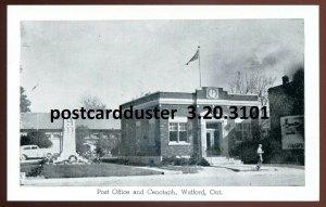3101 - WATFORD Ontario Postcard 1930s Lambton. Post Office & Cenotaph