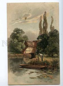 240488 FISHING Fisherman Boat Vintage Meissner & Buch #1277 PC