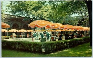 1950s CHICAGO ART INSTITUTE Postcard Luncheon in McKinlock Court Chrome Unused