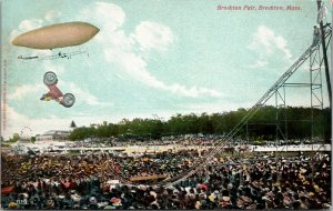 BROCKTON FAIR AIRSHIP CAR - CROWD  - JUMP - MASS MA -  POSTCARD - PC - UNPOSTED