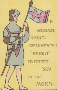 Military Knight Carrying Flag Greet You In Morning Antique Greetings Postcard