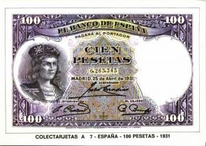 spain, Cien 100 Pesetas 1931, BANKNOTES Modern Money Postcard