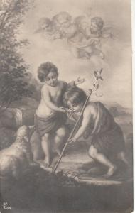 Early religious postcard cupid cherubs lamb angel cupids by Murillo