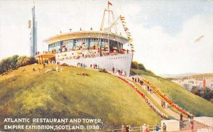 Atlantic Restaurant & Tower, 1938 Empire Exhibition, Scotland, unused postcard