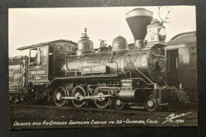 Mint Vintage Denver and RioGrande Southern Engine No 20 Durango CO RPPC