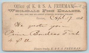 Postal Card Boston Freeman Wholesale Fish Dealer 1883 Leavitt Cancel AF13