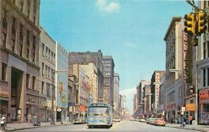 Autos Bus 1950s East Public Square Cleveland Ohio Evans Tichnor postcard 1325