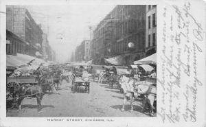 Chicago Illinois~Market Street Produce Wagons~Grain Sacks~Cheese Sign~1906 B&W