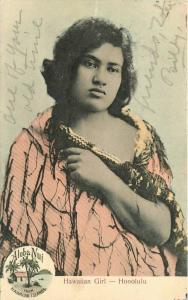 1908 Hawaiian Girl Honolulu Aloha Nui South Seas Curio Postcard