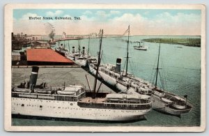 Galveston Texas Harbor~Steamers on Dock Frontage~Wharf Facilities~1920s Postcard