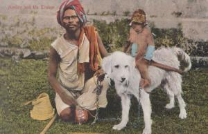 Indian Monkey Riding A Dog & His Trainer Antique Postcard