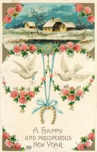 New Year~Delicate Pink Rose Art Nouveau Portals~White Doves~Lake~Emb~EAS~Germany