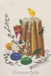 Poland Toy Sheep Carrying Flag Ship Mast Sails Bird Polish Happy Easter Postcard