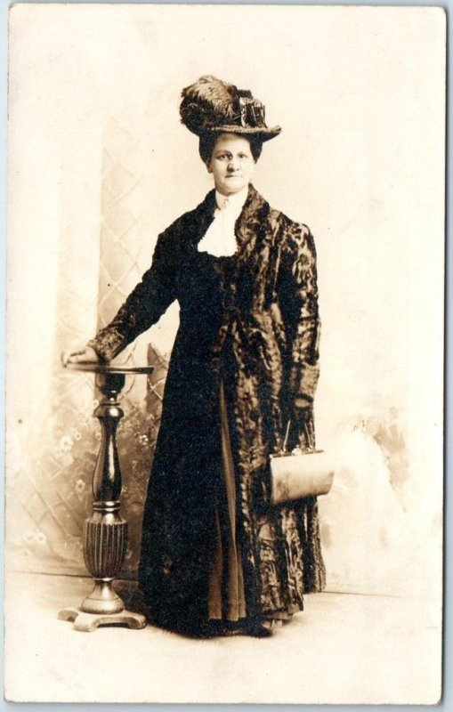 Vintage RPPC Photo Postcard Older Woman in Fine Dress / Feathered Hat & Purse