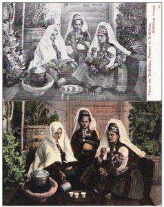 Palestine - Femmes de Bethlehem - Lot 2 Postcards CARTES b/w & color