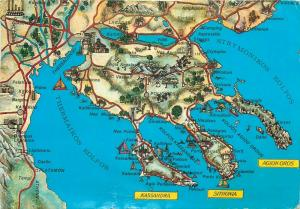 Greece Halkidiki map postcard