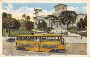 Double Decker Streetcar State Capitol Columbus Ohio 1921 postcard