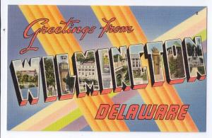 Large Letter Greetings From Wilmington DE Linen