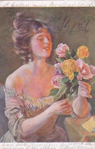 Artist Signed, Woman wearing strapless dress admiring roses, 10-20s
