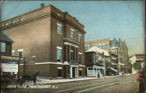 Pawtuck RI Boys Club Street Scene c1910 Postcard