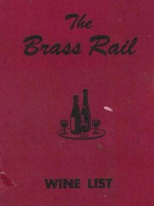 MK-041 CA, San Diego, The Brass Rail Restaurant Wine List, October 1951 Menu