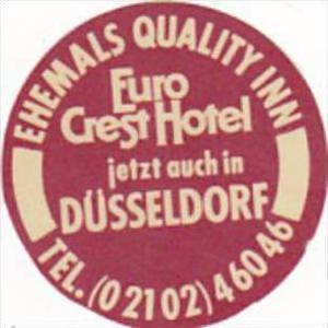 GERMANY DUESSELDORF EHEMALS QUALITY INN VINTAGE LUGGAGE LABEL