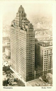 Birdseye Drake Hotel roadside Philadelphia Pennsylvania 1930s Postcard 11839