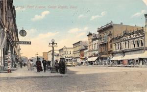 Cedar Rapids IA~Russell's~Barber Pole~Hanging Pocketwatch Clock~Art Shop 1912
