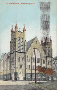 Martins Ferry Ohio Baptist Church Street View Antique Postcard K88287