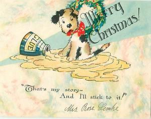 Old Vintage Postcards Merry Christmas Puppy stuck in Glue # 1606A