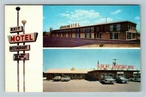 Birch Run MI- Michigan, The Exit Motel Restaurant Advertising Chrome Postcard